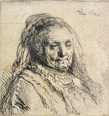 Rembrandt, An elderly woman (Rembrandt's mother, head and bust)  Etching and drypoint 1628