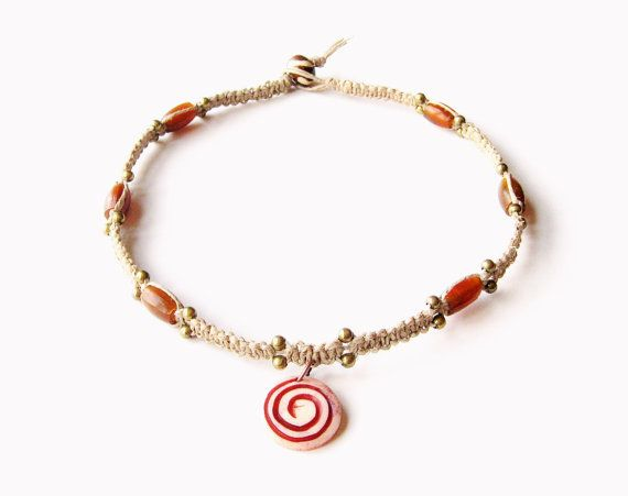 Macrame Hemp Choker, Bone Spiral Pendant - amber horn hair pipe beads, brass beads - tribal necklace, hippie necklace, beach, hemp necklace - Liminal Horizons - liminalhorizons