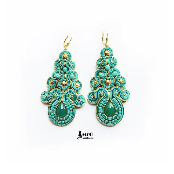 Turquoise and gold large beautiful earrings por MrOsOutache en Etsy, $70.00