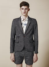 Navy Check Skinny Blazer.  Suit with shorts?