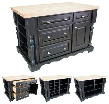 Lyn Design ISL02-DBK Black Kitchen Island - traditional - kitchen islands and kitchen carts - Simply Knobs And Pulls