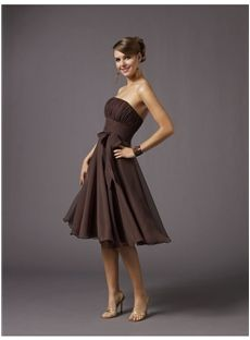 In gray with yellow flowers...Amazing Chiffion Strapless Sleeveless Knee-Length Hot Sell Bridesmaid Dresses : Tidebuy.com