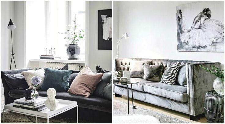Велюровый диван в интерьере #дизайн #интерьер #декор #тренды #стиль