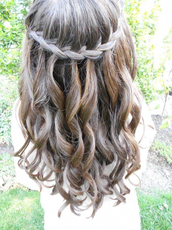 waterfall braid hairstyles for prom | Medium length ...