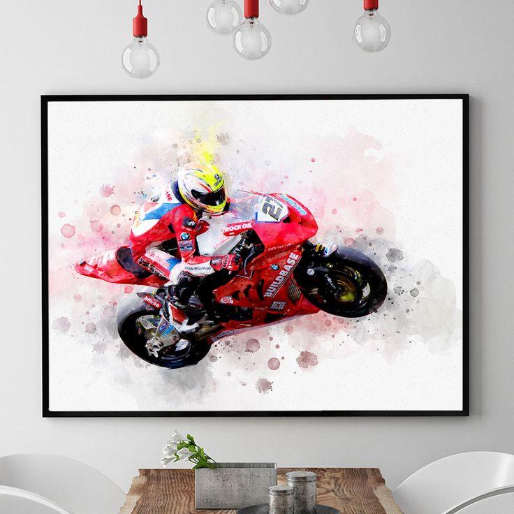 Motorcycle Gifts, Motorcycle Art, Motorbike Print, Motorcycle Racing, Race, Motorbike Gift, Biker Gifts, Biker Art, Kids Room (N318) by PointDot on Etsy