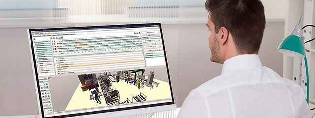 Virtueller Mensch plant Fabriken und Arbeitsplätze