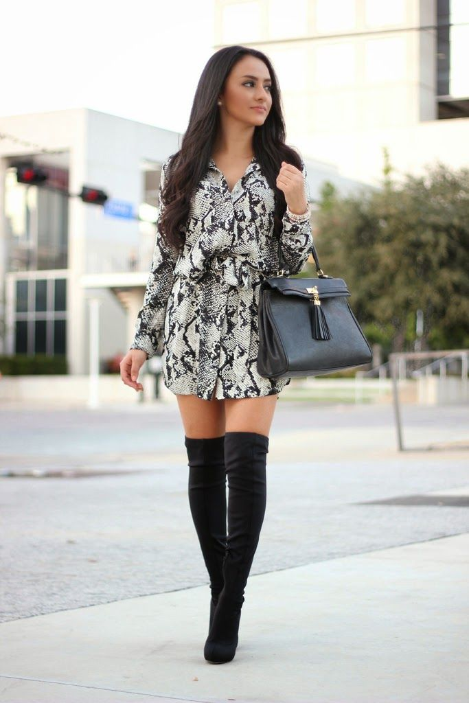 Maytedoll: The Shirt Dress Snake Print Shirt Dress: BlushBoutique Over the knee boots: Shoedazzle Bag: Aldo