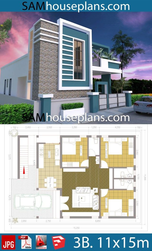 House Plans 11x15 With 3 Bedrooms Sam House Plans Beautiful House Plans House Plans Small House Elevation Design