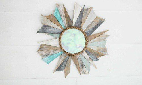bois de rebut miroir sunburst, artisanat, décoration de la maison, upcycling repurposing
