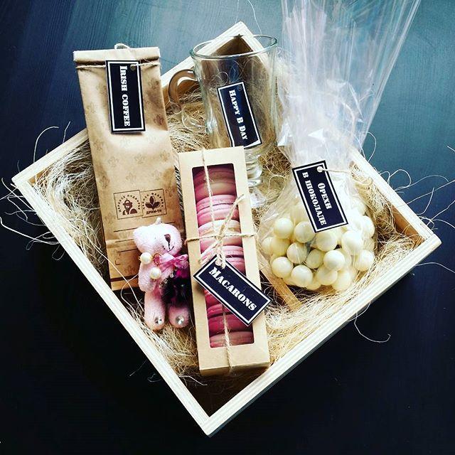 Кому надоели цветы с конфетами в картонной коробке, Вам сюда😉⬇⬇⬇ Актуальные подарки в деревянных ящиках🔆📦🎁 ✔ Стильно и необычно ✔Вам не нужно тратить время в нескольких магазинах ✔Наполнение и стоимость регулируете Вы ✔Ящик долго прослужит местом для хранения мелочей ✔Доставка по Уфе лично в руки ✔ Цена 1990  Состав: Irish coffee ☕ Бокал для кофе🍸 Французский десерт macarons 🍥 Фундук в белом шоколаде🌰 Мягкая игрушка 🐻 Деревянная коробочка для хранения📥  Заказать по номеру…