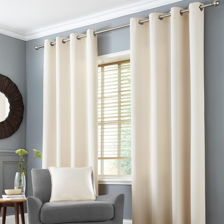 Seattle Natural Thermal Eyelet Curtains | Dunelm
