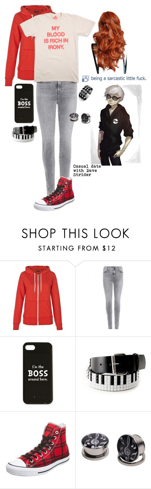"""""""A Casual Date With Dave Strider"""" by chuckygal-mp ❤ liked on Polyvore featuring J Brand, Converse, Waterford, YES, homestuck, davestrider and irony"""