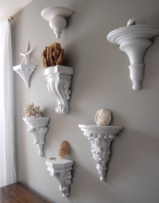 Possible DIY project - painted wall shelves. From: http://www.thenester.com/2011/04/inexpensive-wall-art.html