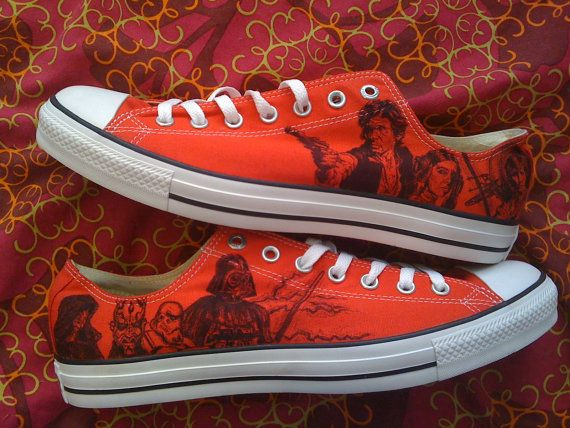 Hey, I found this really awesome Etsy listing at https://www.etsy.com/listing/166153542/star-wars-converse-pink-or-red-artwork