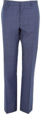 River Island Mens Blue check wool-blend slim suit pants