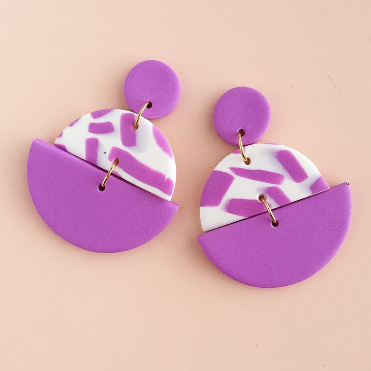 Polymer Clay Statement Earrings in a violet and white colour palette. by colourwork on Etsy https://www.etsy.com/au/listing/468796304/polymer-clay-statement-earrings-in-a