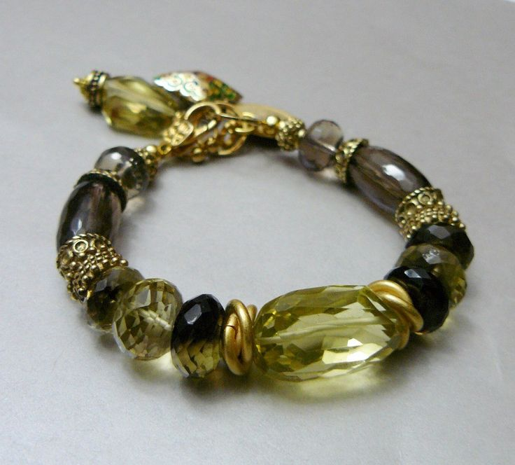 Citrine and Smoky Quartz Charm Bracelet with Gold by pmdesigns09