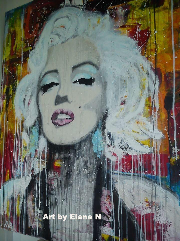 Acrylic painting 100*80 of Marilyn. Art by Elena N