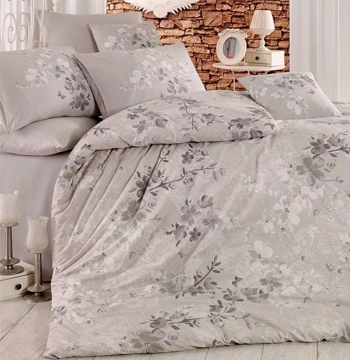 Homeville povlečení 100% bavlna Elena šedá se dvěma povlaky na polštář