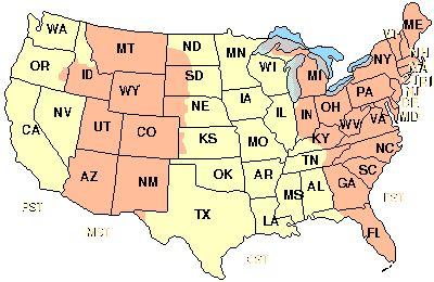 Es gibt folgende Zeitzonen in den USA: