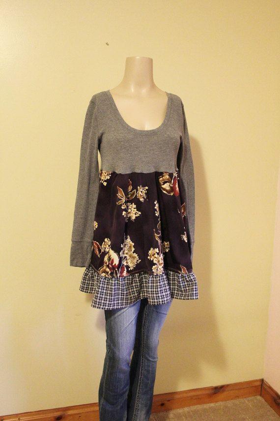 REVIVAL Upcycled Women's Boho Knit Shirt, Shabby Chic Romantic Junk Gypsy Bohemian, Size Med-Lg, Repurposed, Recycled, EcoFriendly Clothing