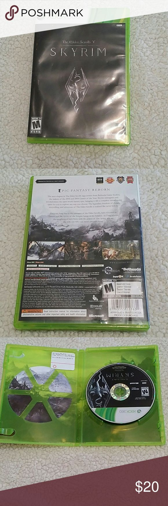 XBOX 360 skyrim The Elder Scrolls V The game is in great condition Barely Used. Only a couple of blemishes on the disc doesn't affect the game at all. XBOX 360 Accessories