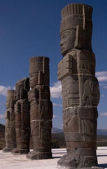 Toltec columns in the ancient city of Tula in Hidalgo, Mexico (A.D. 100-250)