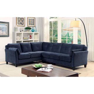 Shop for Furniture of America Pierson Contemporary Flannelette L-Shaped…