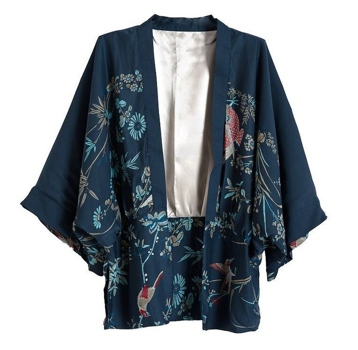 Lovely Floral Print Loose Open Front Kimono-Style Jacket S-L