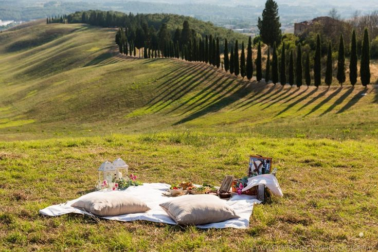 Picnic setting for a shock marriage proposal in Tuscany