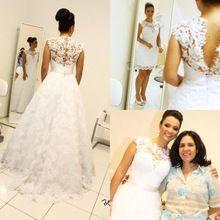 Vestido de Baile Vintage Vestidos de Casamento High Neck Mangas Compridas Vestidos de Noiva Saia Removível 2 em 1 Estilo…