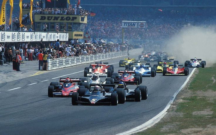 1978 German Grand Prix start. Mario Andretti and Ronnie Peterson leds the race.