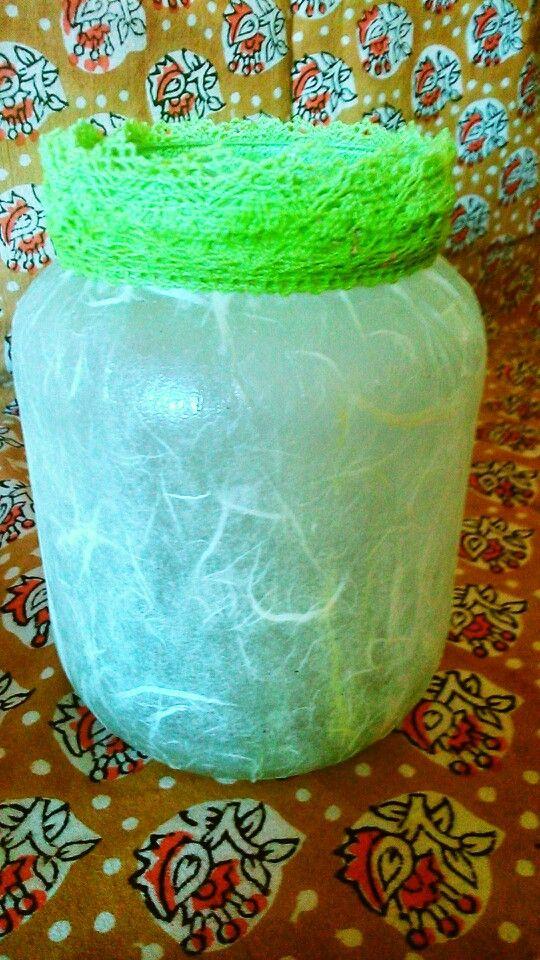 Tarro de cristal reciclado y decorado