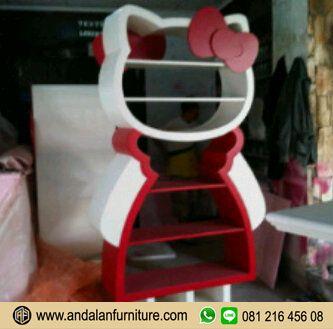 Aksesoris Model Lemari Buku Rak Minimalis Hello Kitty Warna Pink Murah