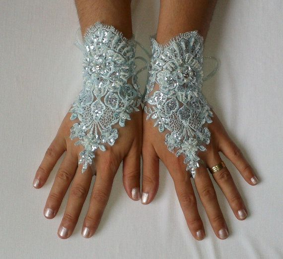 Soft aqua blue beaded sequined bridal gloves by WeddingGood