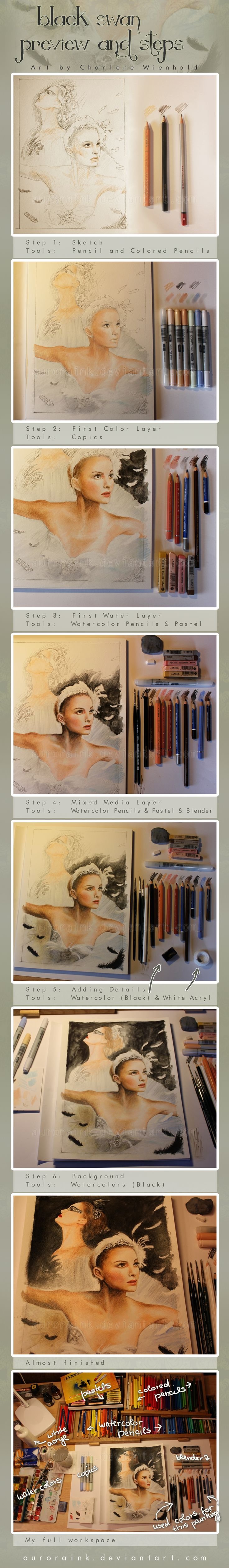 An excellent example of how one can combine various tools and media types to create a work of art. This example uses pencil crayons, copics, pastels and watercolours.