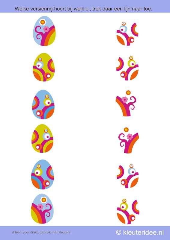 Welke versiering hoort bij welk ei, kleuteridee.nl , thema lente voor kleuters, search the decoration of the eggs,  free printable.
