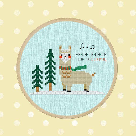 Falala Llama. Cute Christmas Llama Cross Stitch PDF by andwabisabi