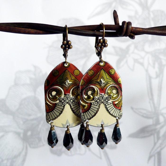 zingaro - vintage tin and czech glass earrings. $42.00, via Etsy.