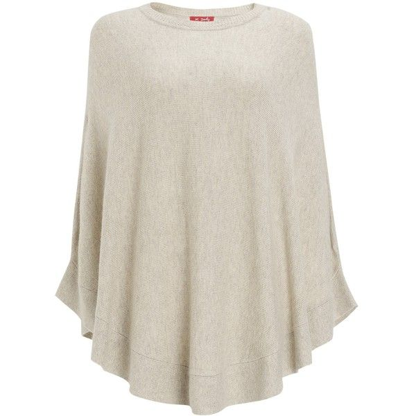 Derhy Knit Poncho , Beige ($46) ❤ liked on Polyvore featuring beige, beige poncho, derhy, knit poncho and style poncho
