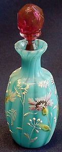 Victorian Art Glass Blue Floral Enamel Blood Stoppered Perfume Bottle