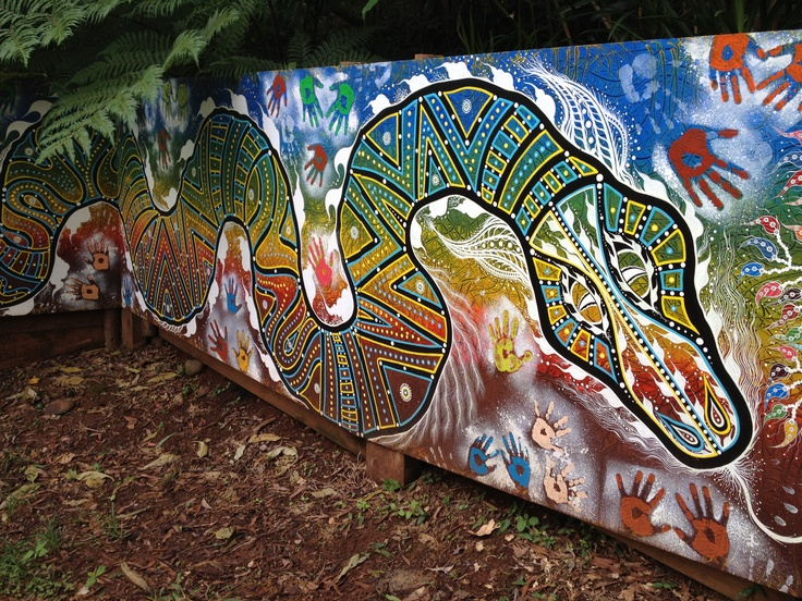 Aboriginal mural at the entrance to the bush tucker garden.