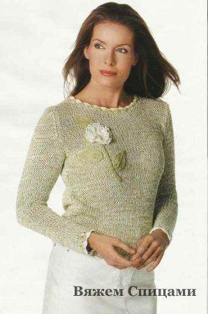 melanzhevyy pulover s cvetkom