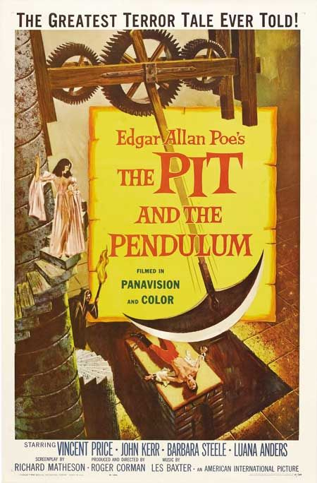 """The Pit and the Pendulum"" - Francis goes to Spain, when he hears his sister Elizabeth has died. Elizabeth's husband, Nicholas, is the son of the brutest torturer of the Spanish Inquisition. Nicolas tells Francis that Elizabeth died of a blood disease, but Francis finds this hard to believe. After some investigating he finds out that it was extreme fear that was fatal to his sister and that she may have been buried alive. Two words: Vincent Price. Image and info credit: IMDb."