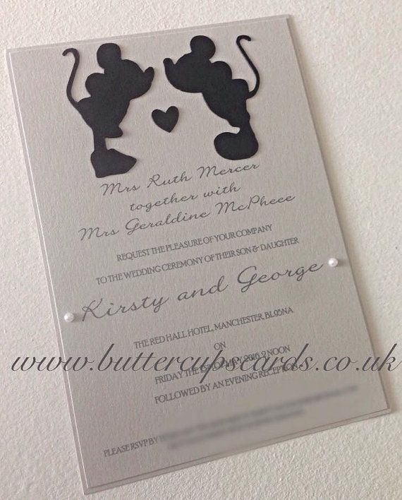 Minnie and Mickey Disney Invitation. #weddinginvitation #minniemouse #mickeymouse #disneywedding #minnieandmickey