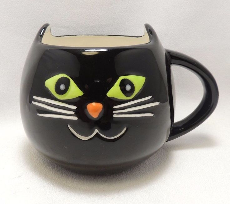 Black Cat Halloween 16 Oz Coffee Tea Cocoa Mug Cup Hand Painted By Tag New #Tag