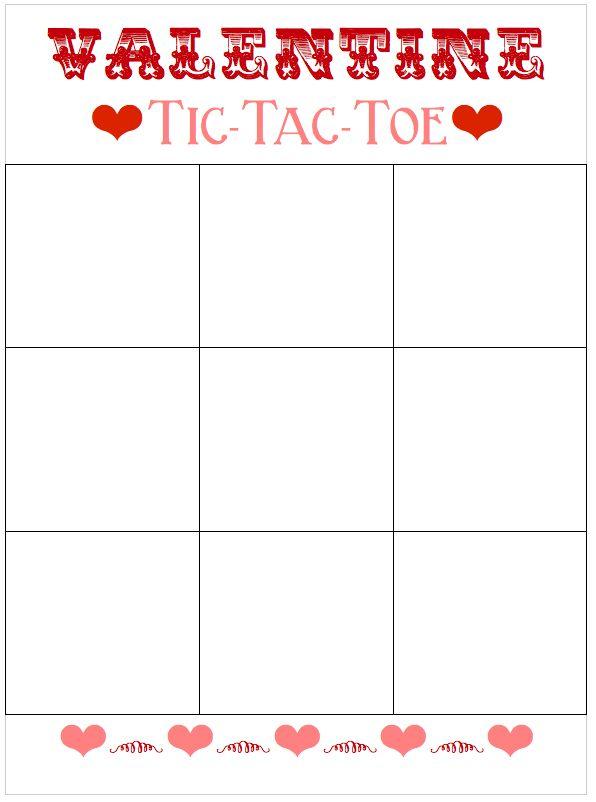 Valentine TicTacToe Board Template  Tic Tac Toe Board Toe Board