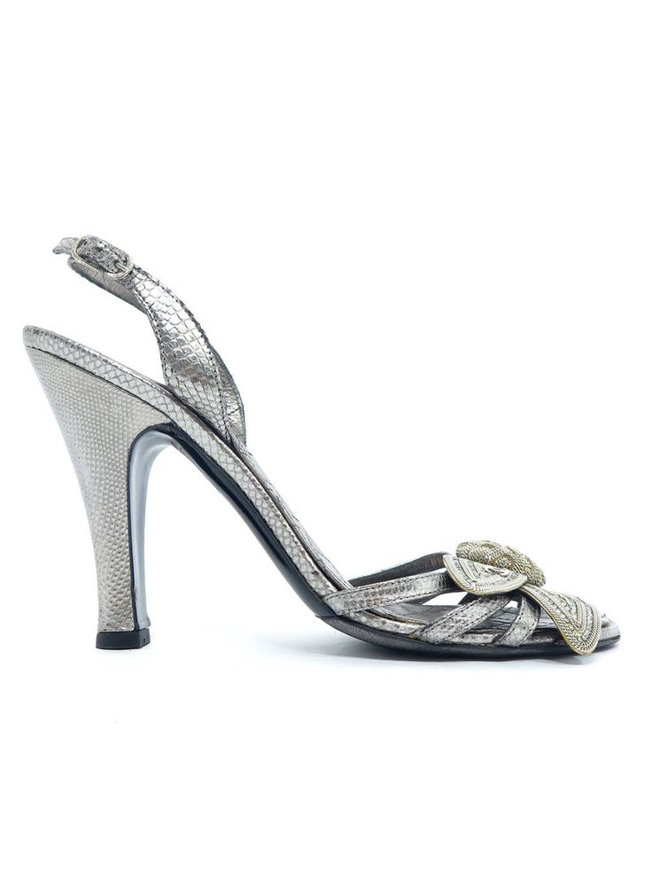 Chanel Embossed Sandals in silver www.sabrinascloset.com