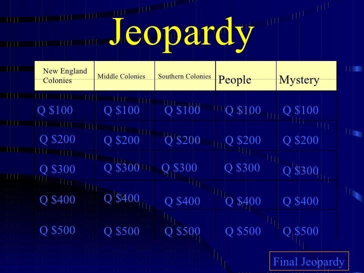13 Colonies Jeapardy                                                       …