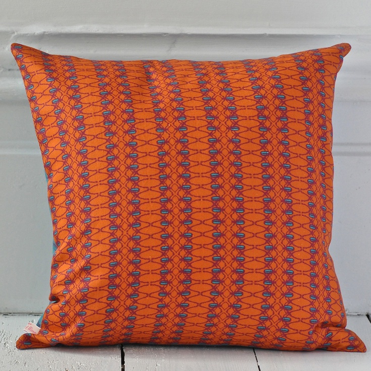 beetle stripe cushion, clementine & bloom